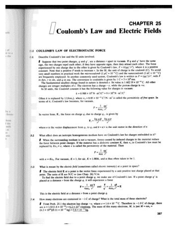 Problems with solutions -- Coulomb Law, etc.