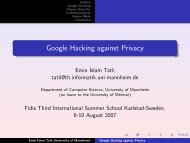 Google Hacking against Privacy - IT is your future