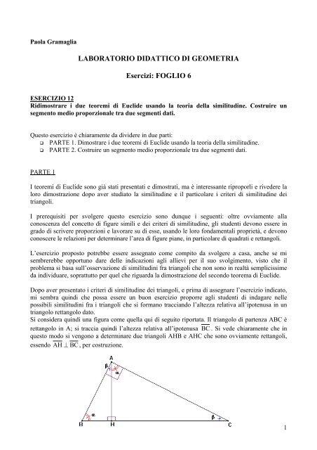 Laboratorio Didattico Di Geometria Esercizi Foglio 6