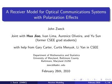 A Receiver Model for Optical Communications Systems with ...