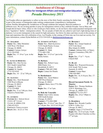 Posada Directory 2011 - Archdiocese of Chicago