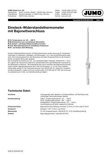 Einsteck-Widerstandsthermometer mit Bajonettverschluss - Jumo