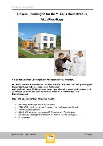 und Leistungsbeschreibung AktivPlus-Haus - Ytong Bausatzhaus ...