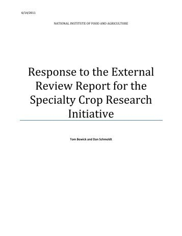 Response to the External Review Report for the - National Institute ...