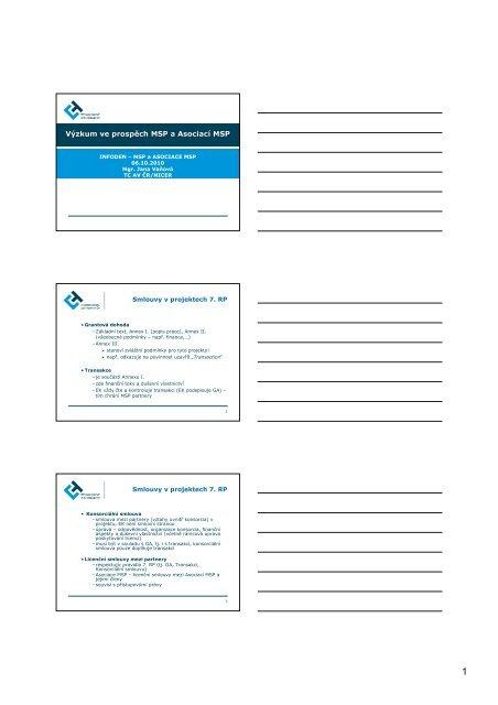 Výzkum ve prospěch MSP a Asociací MSP - 7. RP