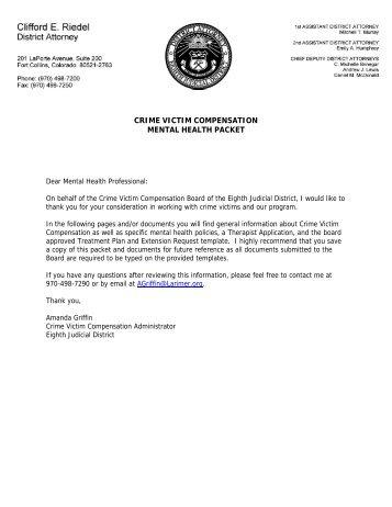 CRIME VICTIM COMPENSATION MENTAL HEALTH PACKET
