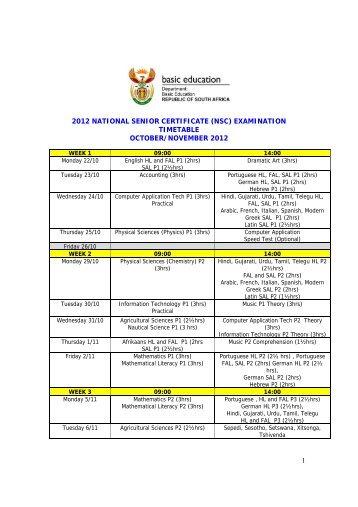 1 2012 national senior certificate (nsc) examination timetable ...