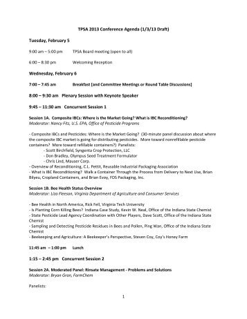 TPSA 2013 Conference Agenda (1/3/13 Draft) - The Pesticide ...