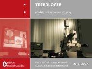 TRIBOLOGIE - Vysoké učení technické v Brně