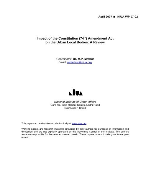 (74th Amendment) Act - National Institute of Urban Affairs