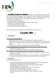 Conseiller GRH Conseiller GRH (m/f) - Fondation rurale de Wallonie