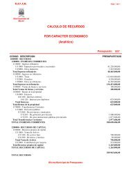 CALCULO DE RECURSOS POR CARACTER ECONOMICO ...