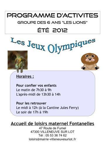 PROGRAMME D'ACTIVITES - Villeneuve sur Lot