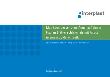 Prospekt Sauberkeitsschicht - INTERPLAST Kunststoffe GmbH