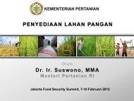 PENYEDIAAN LAHAN PANGAN Dr. Ir. Suswono ... - Kadin Indonesia