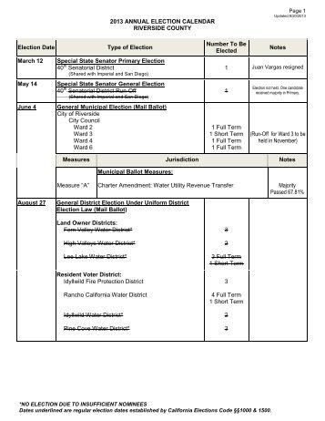 2013 Annual Election Calendar - Riverside County Registrar of Voters