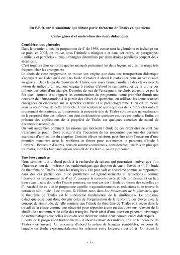 le théorème de thalès en quatrième.pdf - Educmath