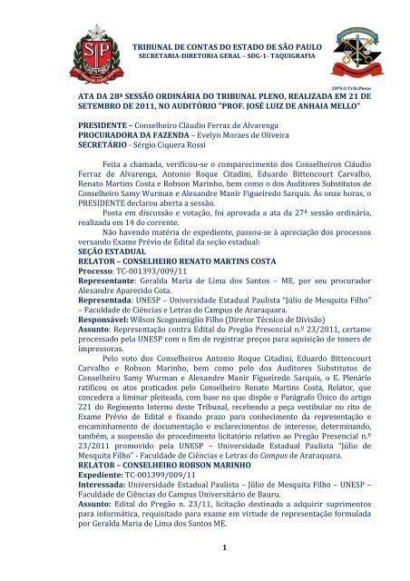 tribunal de contas do estado de são paulo 1 ata da 28ª sessão ...