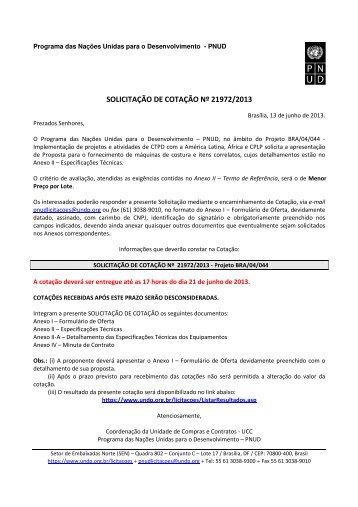 SOLICITAÇÃO DE COTAÇÃO Nº 21972/2013 - Pnud