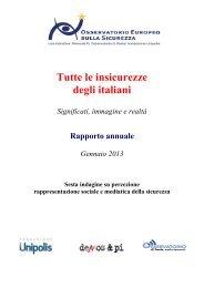 Tutte le insicurezze degli italiani - Osservatorio di Pavia