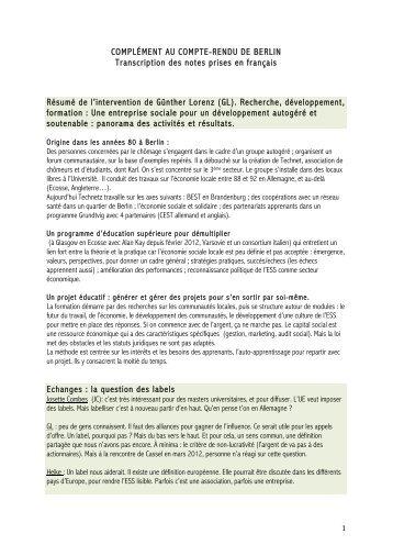 COMPLÉMENT AU COMPTE-RENDU DE BERLIN ... - Pactes Locaux
