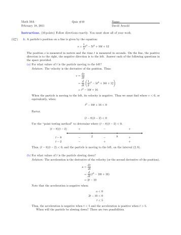 Math 50A February 18, 2011 Quiz #10 Name: David Arnold ...