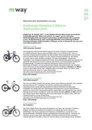 Zur Medienmitteilung E-Bikes - M Way