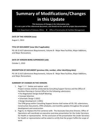 Summary of Changes - Office of Construction & Facilities ...