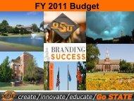 FY 2011 Budget Presentation - Oklahoma State University
