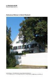 Exklusives Wohnen in Zürich Riesbach - Lindauer-Immobilien