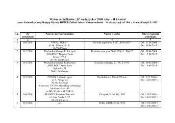 """Wykaz certyfikatów """"B"""" wydanych w 2008 roku - II kwartał"""