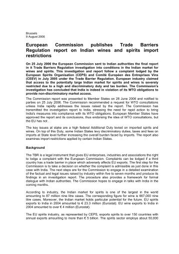 European Commission publishes Trade Barriers ... - Europa