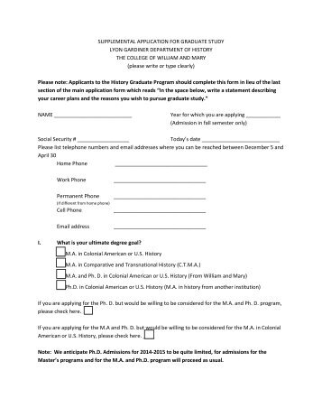 History Supplemental Application Form - College of William and Mary