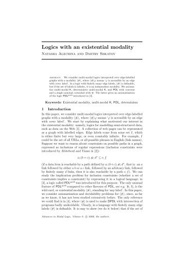 Logics with an existential modality - School of Computer Science