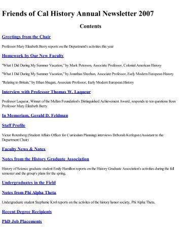 Annual Newsletter 2007_Full.pdf - Department of History, UC Berkeley