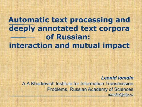 Automatic text processing and deeply annotated text corpora of ...