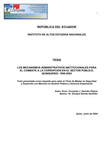 república del ecuador tesis - Repositorio Digital IAEN - Instituto de ...