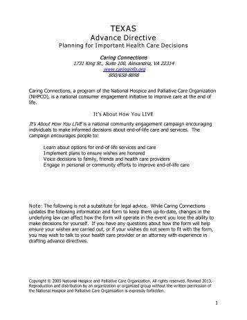 TEXAS Advance Directive - Caring Connections