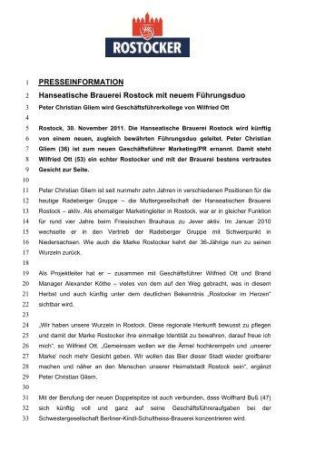 PRESSEINFORMATION Hanseatische Brauerei Rostock mit neuem ...