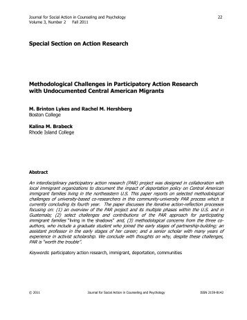 Methodological Challenges in Participatory Action Research