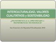 INTERCULTURALIDAD, VALORES CUALITATIVOS y ...