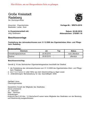 Stadtratsdrucksache 74/10 - Familie Spiegel in Radeberg