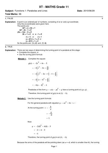 XT – MATHS Grade 11 – Functions – Parabolas + Lines Memo