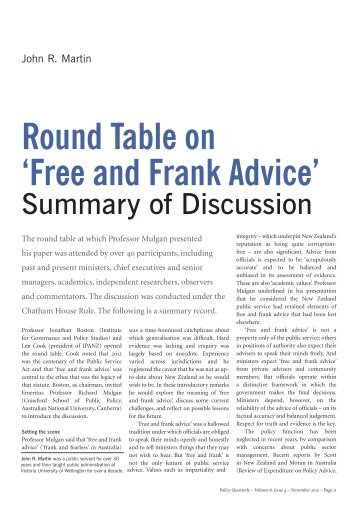Round Table on 'Free and Frank Advice' - Institute for Governance ...