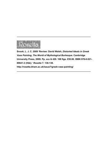 Review: David Walsh, Distorted Ideals in Greek Vase ... - Rosetta