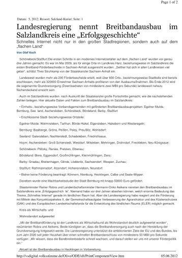 Landesregierung nennt Breitbandausbau im ... - Stadt Staßfurt