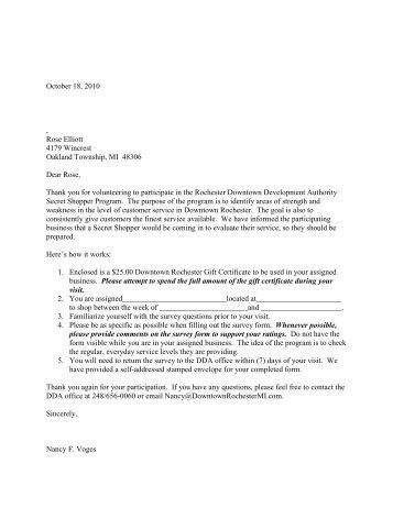 Sample Secret Shopper Volunteer Thank You Letter ... - Heritage Ohio