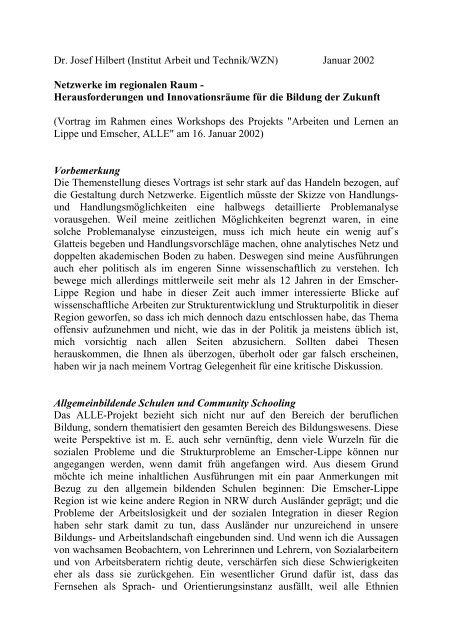 Dr. Josef Hilbert (Institut Arbeit und Technik/WZN) Januar 2002 ...