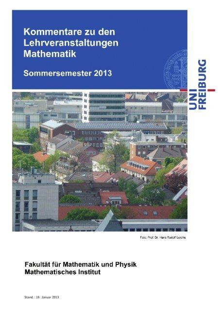 Kommentiertes Vorlesungsverzeichnis SS 2013 - Mathematisches ...