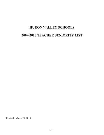 huron valley schools 2009-2010 teacher seniority list - IAmMEA.org